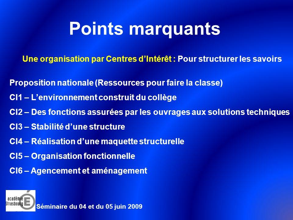 Points marquants Une organisation par Centres d'Intérêt : Pour structurer les savoirs. Proposition nationale (Ressources pour faire la classe)