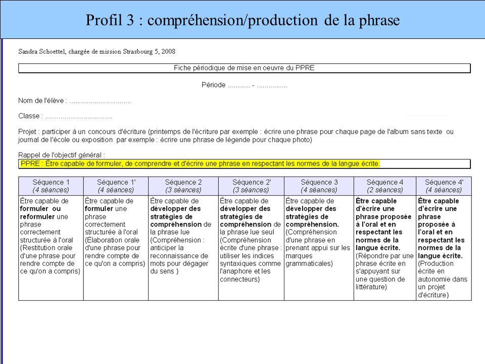 Profil 3 : compréhension/production de la phrase