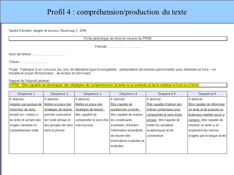 Profil 4 : compréhension/production du texte