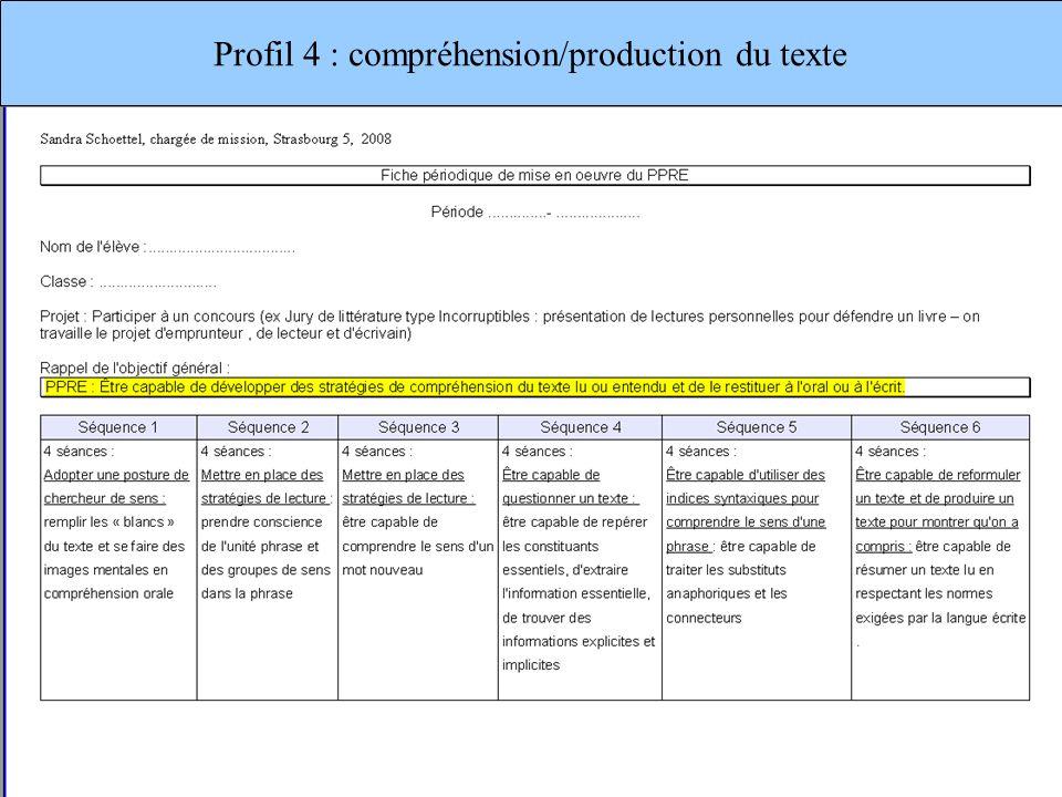 Profil 4 : compréhension/production du texte