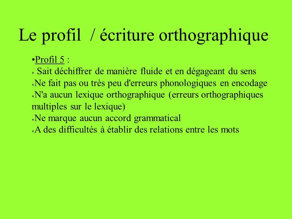 Le profil / écriture orthographique