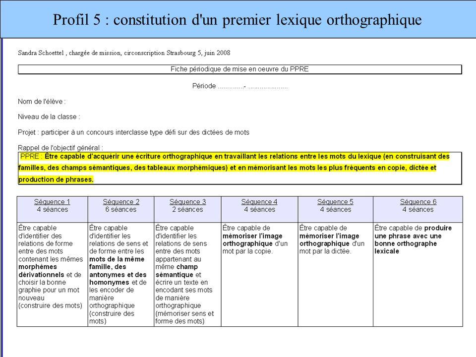 Profil 5 : constitution d un premier lexique orthographique