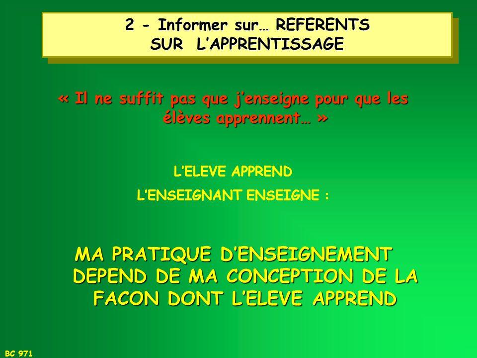 2 - Informer sur… REFERENTS SUR L'APPRENTISSAGE