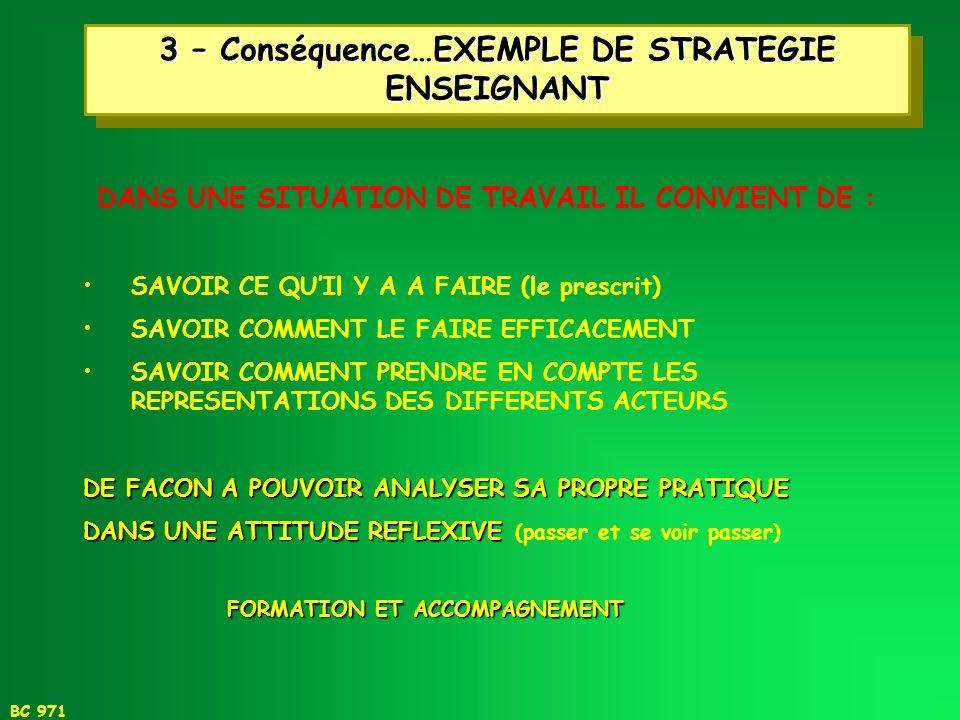 3 – Conséquence…EXEMPLE DE STRATEGIE ENSEIGNANT