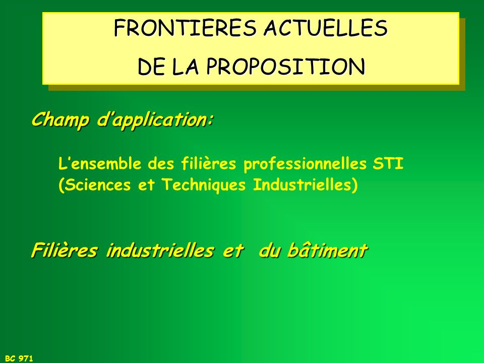 FRONTIERES ACTUELLES DE LA PROPOSITION Champ d'application: