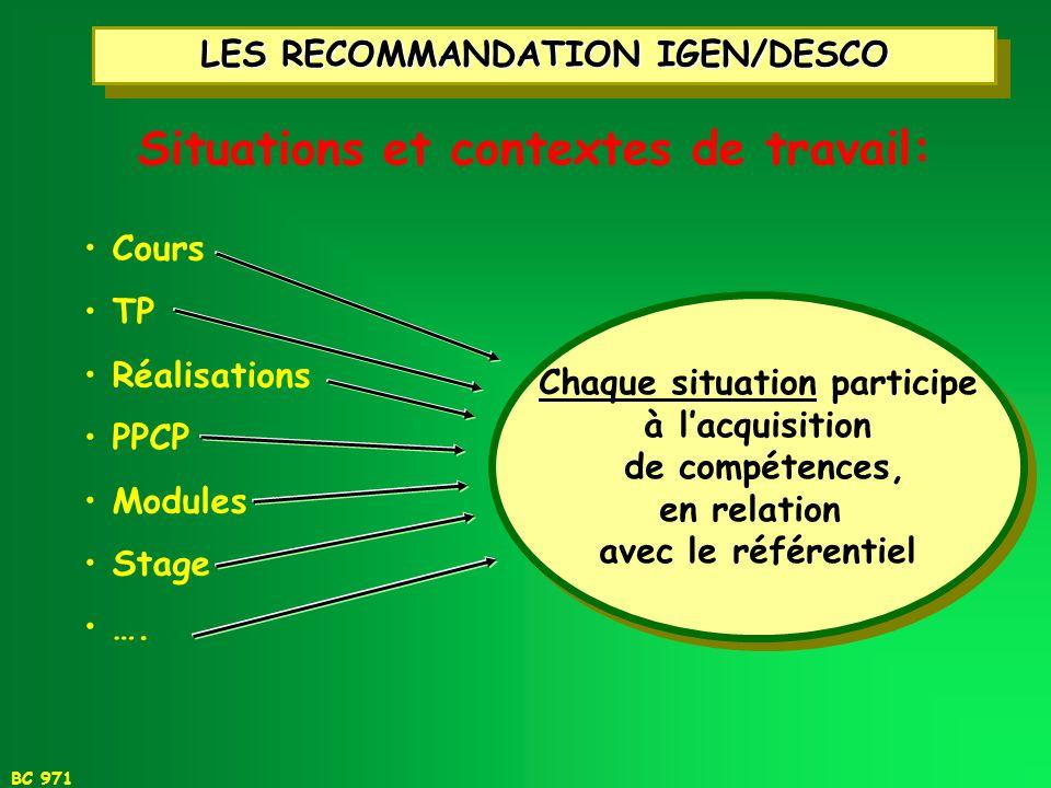 LES RECOMMANDATION IGEN/DESCO