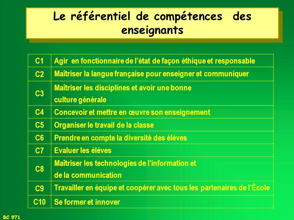 Le référentiel de compétences des enseignants
