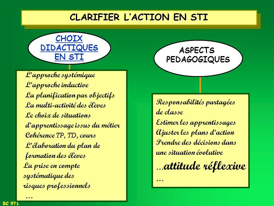 CLARIFIER L'ACTION EN STI
