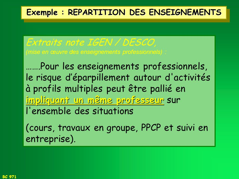 Exemple : REPARTITION DES ENSEIGNEMENTS
