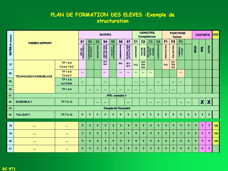 PLAN DE FORMATION DES ELEVES :Exemple de structuration
