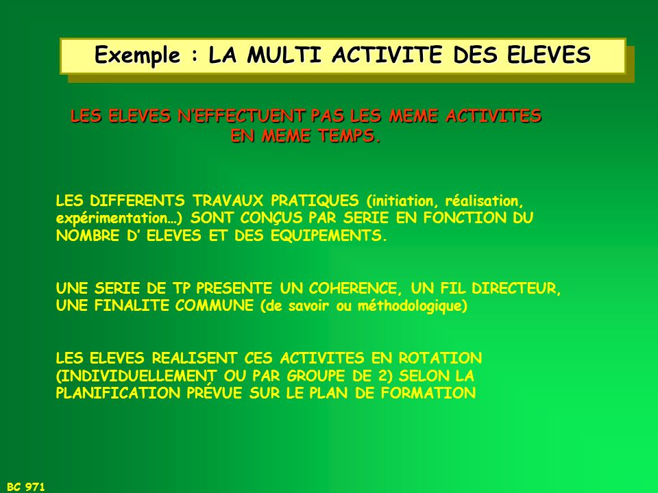 Exemple : LA MULTI ACTIVITE DES ELEVES