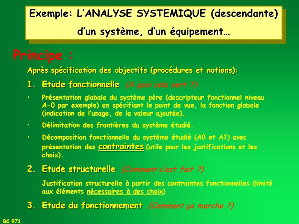 Principe : Exemple: L'ANALYSE SYSTEMIQUE (descendante)