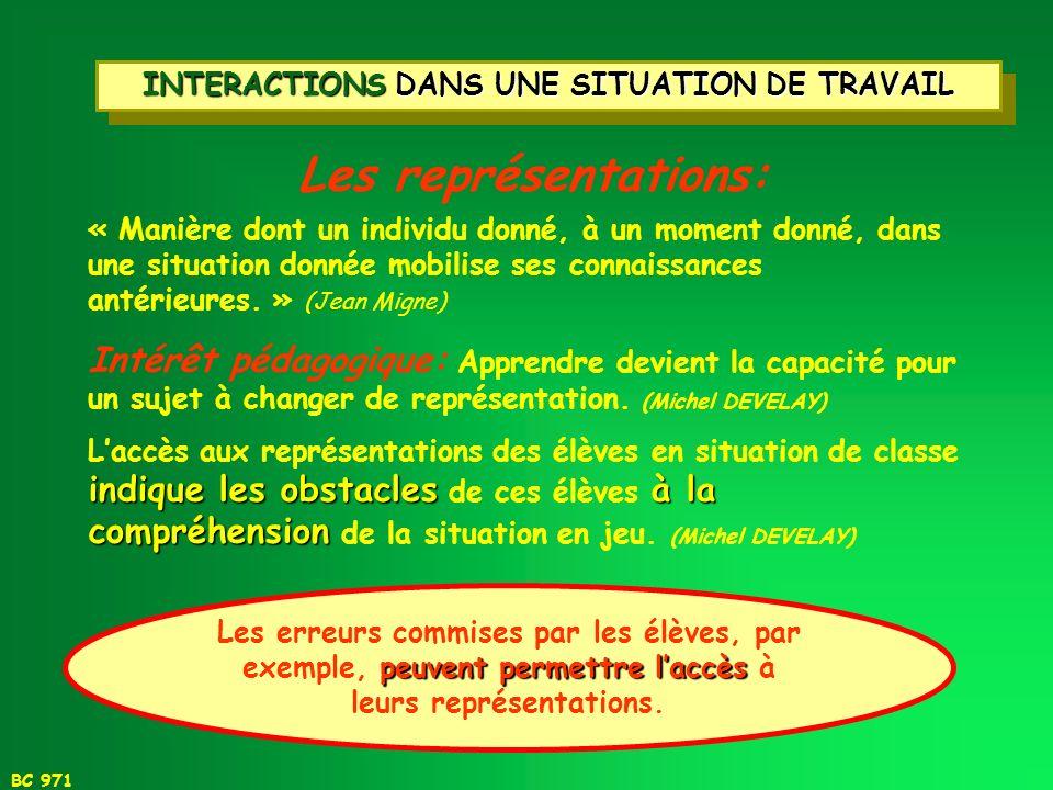 INTERACTIONS DANS UNE SITUATION DE TRAVAIL