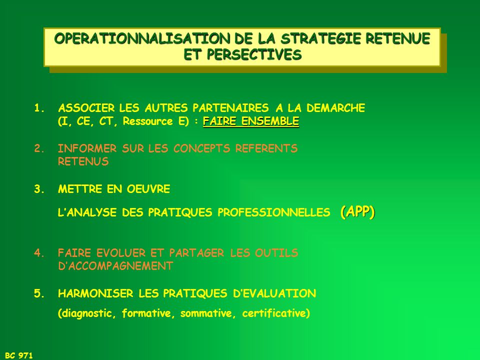 OPERATIONNALISATION DE LA STRATEGIE RETENUE ET PERSECTIVES