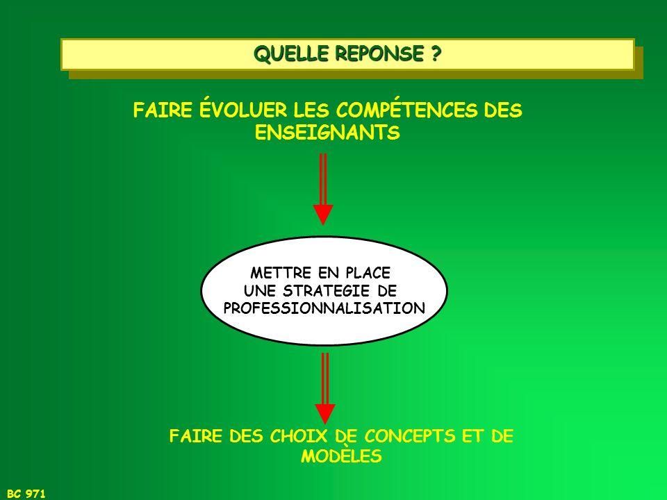FAIRE ÉVOLUER LES COMPÉTENCES DES ENSEIGNANTS PROFESSIONNALISATION