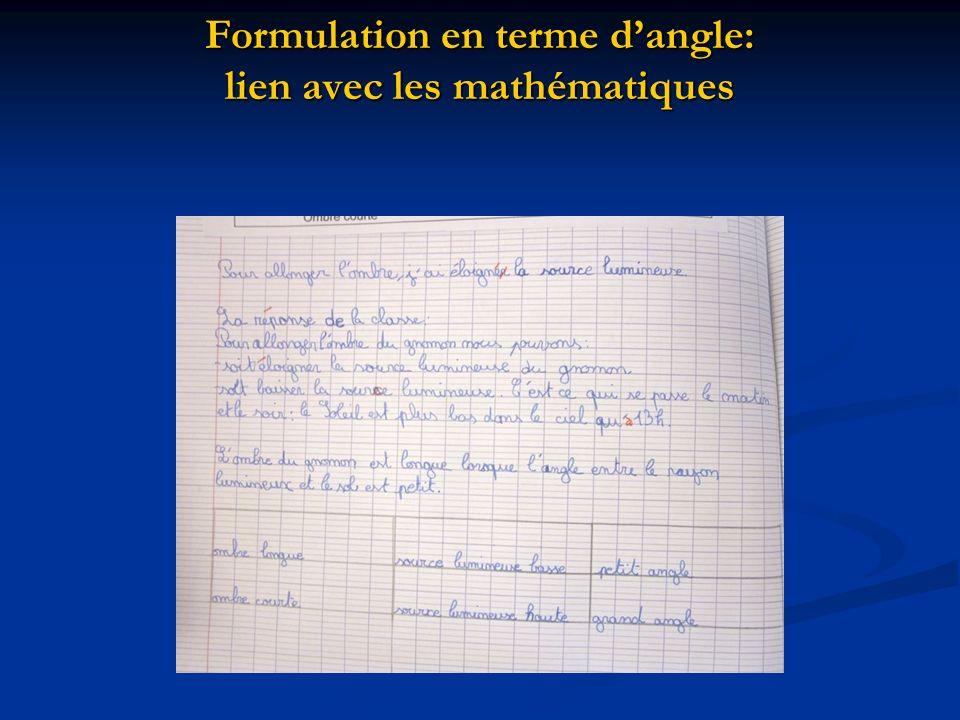 Formulation en terme d'angle: lien avec les mathématiques