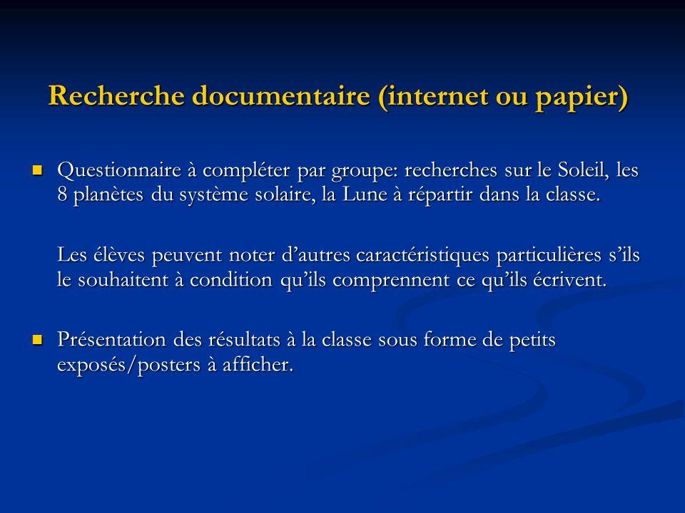 Recherche documentaire (internet ou papier)