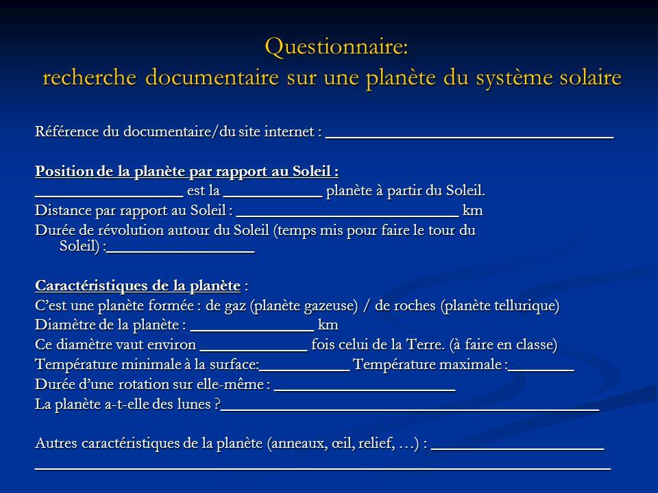 Questionnaire: recherche documentaire sur une planète du système solaire