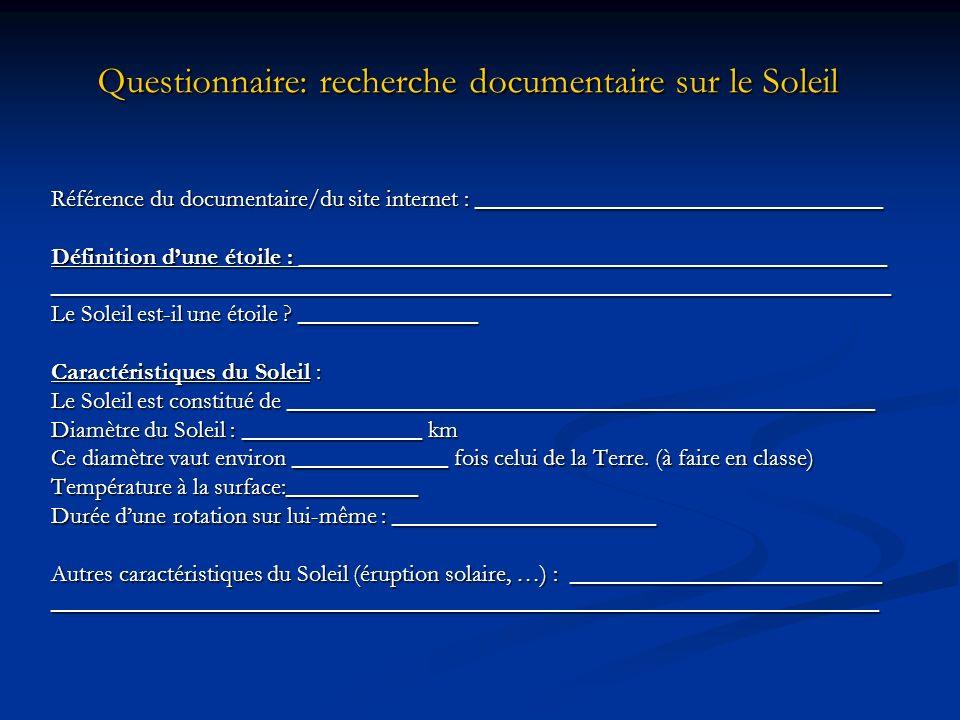 Questionnaire: recherche documentaire sur le Soleil