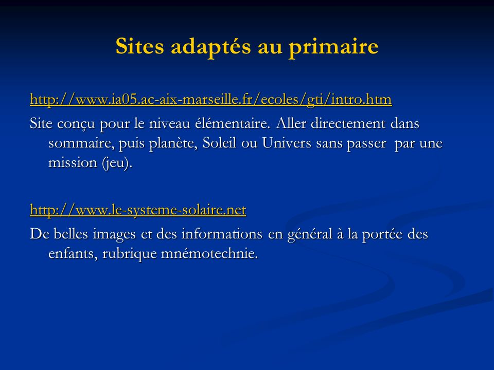 Sites adaptés au primaire