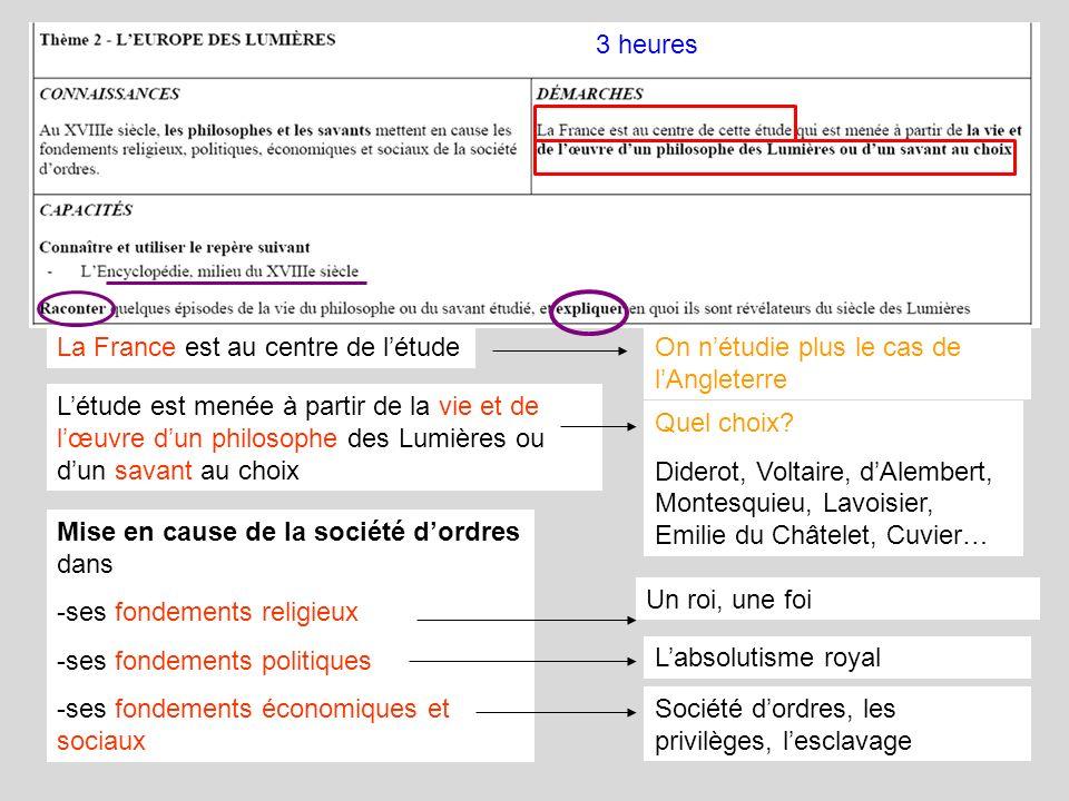 3 heures La France est au centre de l'étude. On n'étudie plus le cas de l'Angleterre.