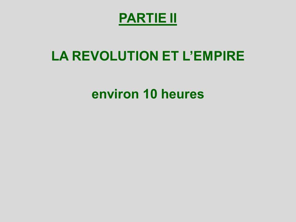 PARTIE II LA REVOLUTION ET L'EMPIRE environ 10 heures