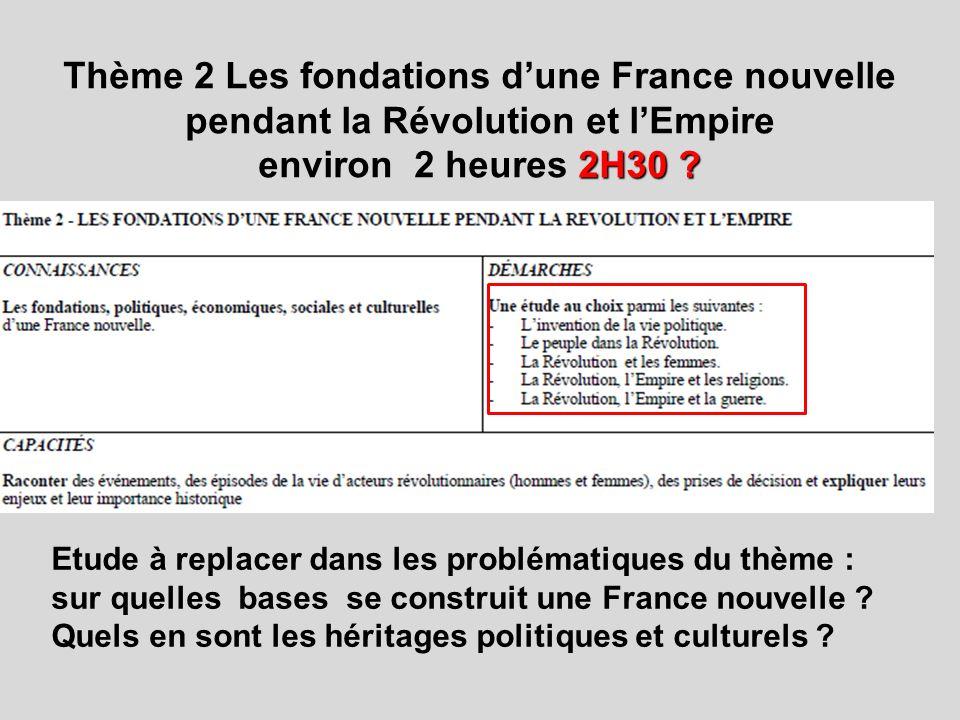 Thème 2 Les fondations d'une France nouvelle pendant la Révolution et l'Empire environ 2 heures 2H30