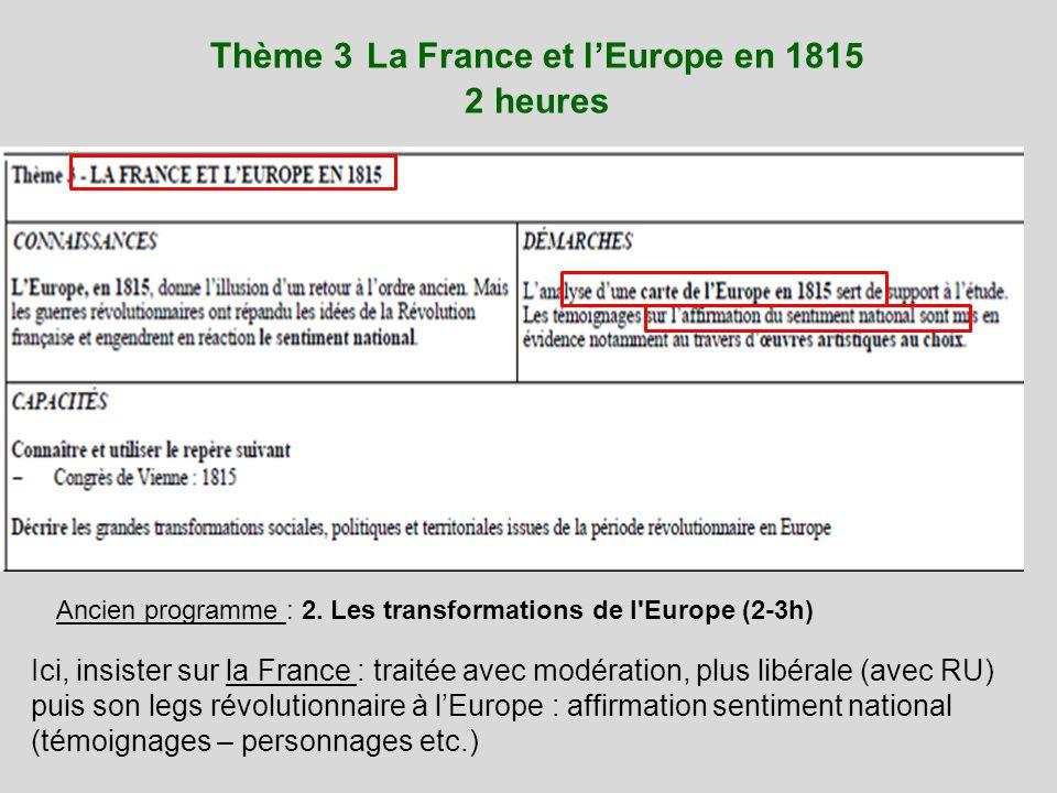 Thème 3 La France et l'Europe en 1815 2 heures