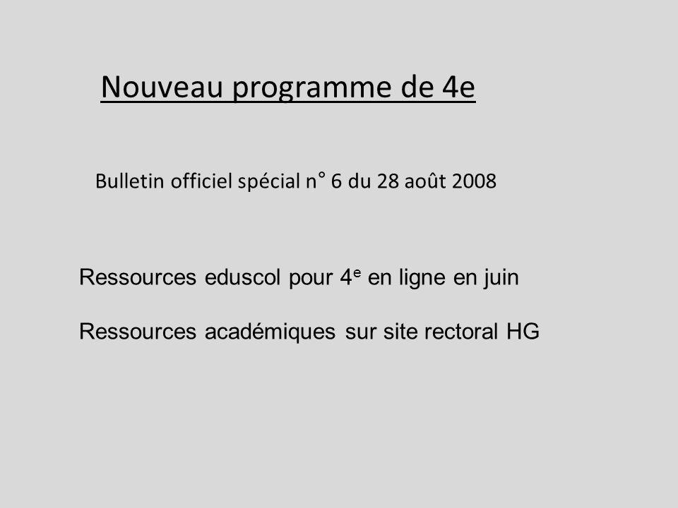 Nouveau programme de 4e Bulletin officiel spécial n° 6 du 28 août 2008
