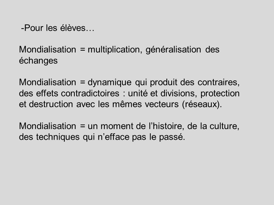 -Pour les élèves… Mondialisation = multiplication, généralisation des échanges.