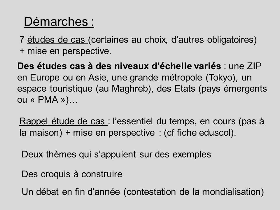 Démarches : 7 études de cas (certaines au choix, d'autres obligatoires) + mise en perspective.