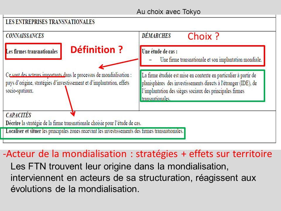 -Acteur de la mondialisation : stratégies + effets sur territoire