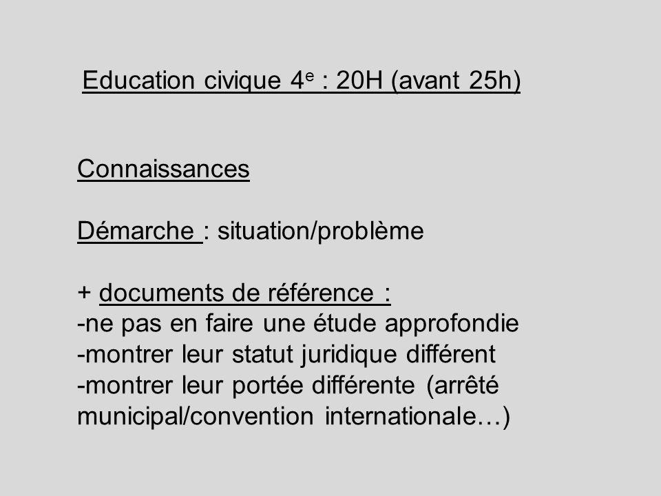 Education civique 4e : 20H (avant 25h)