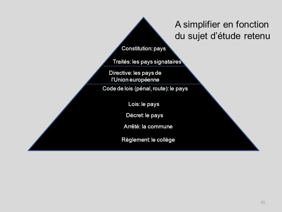 A simplifier en fonction du sujet d'étude retenu