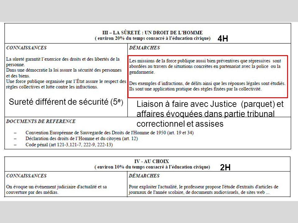 4H Sureté différent de sécurité (5e) Liaison à faire avec Justice (parquet) et affaires évoquées dans partie tribunal correctionnel et assises.