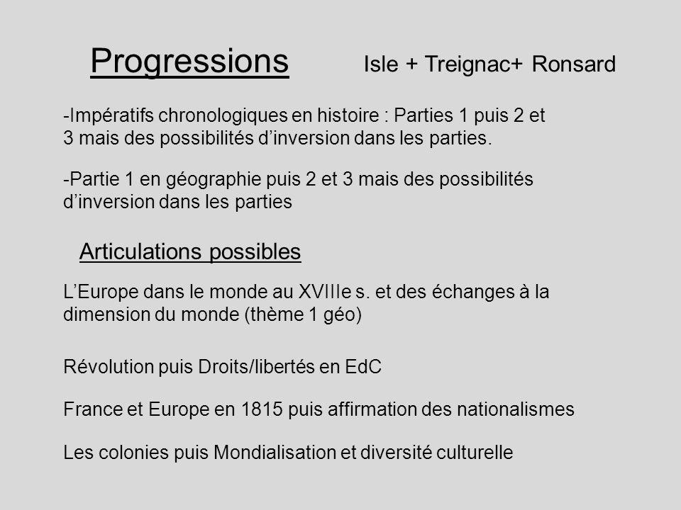 Progressions Isle + Treignac+ Ronsard Articulations possibles