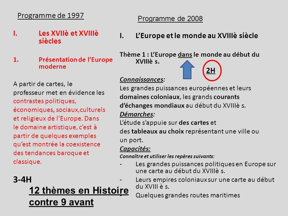 12 thèmes en Histoire contre 9 avant