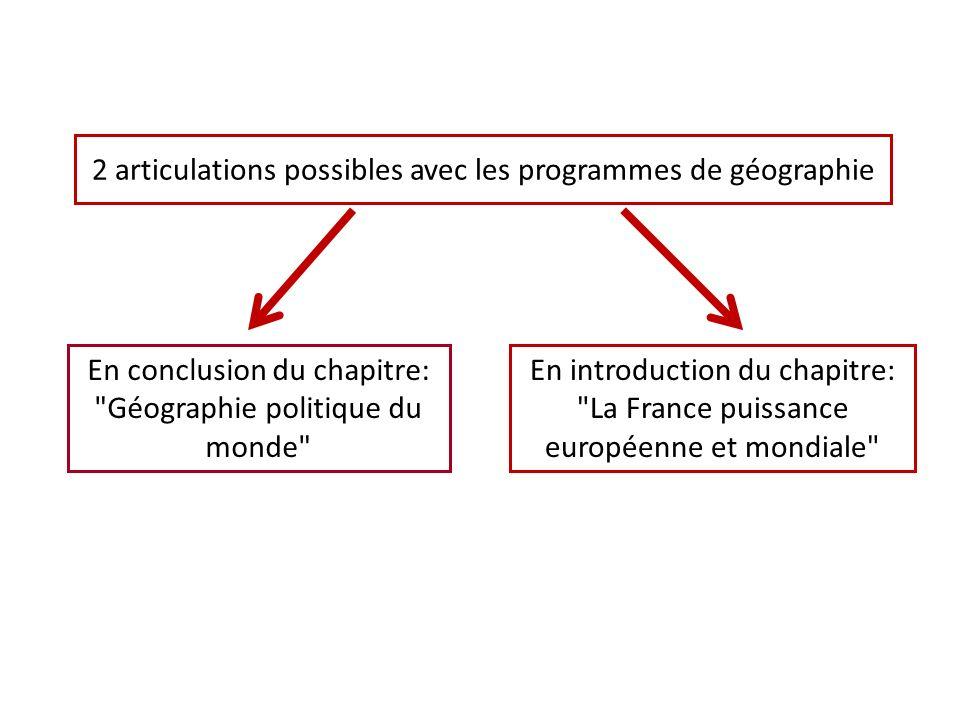2 articulations possibles avec les programmes de géographie