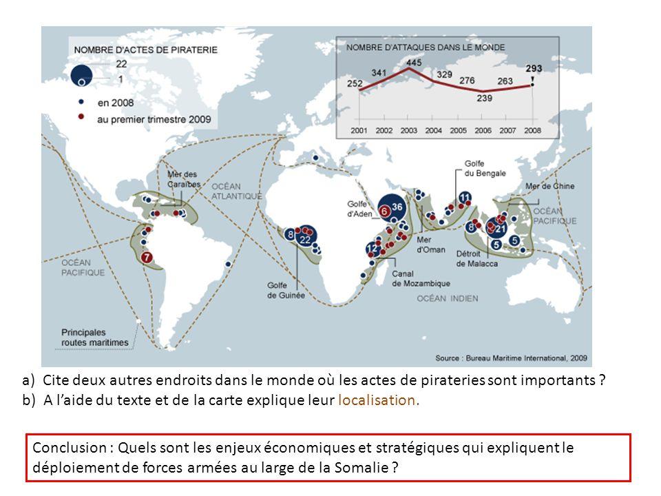 a) Cite deux autres endroits dans le monde où les actes de pirateries sont importants
