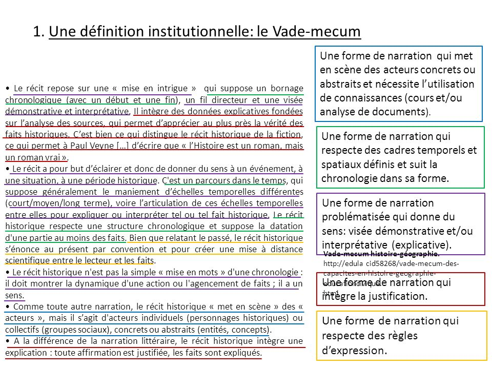 1. Une définition institutionnelle: le Vade-mecum