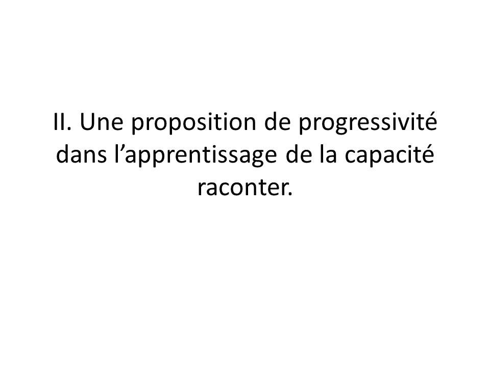 II. Une proposition de progressivité dans l'apprentissage de la capacité raconter.