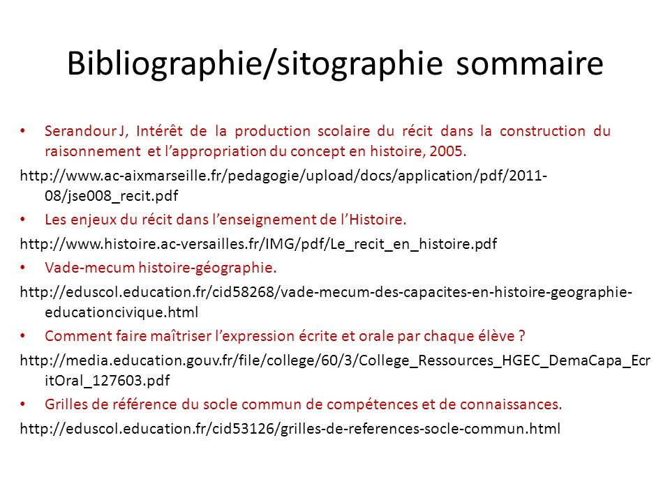 Bibliographie/sitographie sommaire