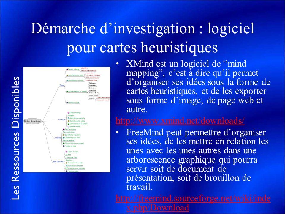 Démarche d'investigation : logiciel pour cartes heuristiques