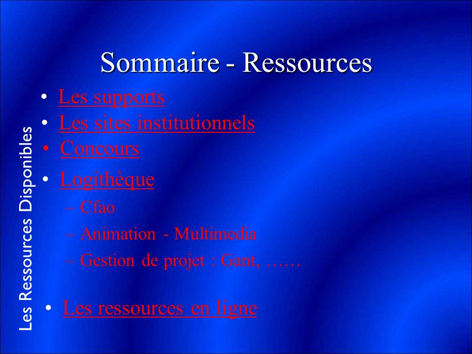 Sommaire - Ressources Les supports Les sites institutionnels Concours