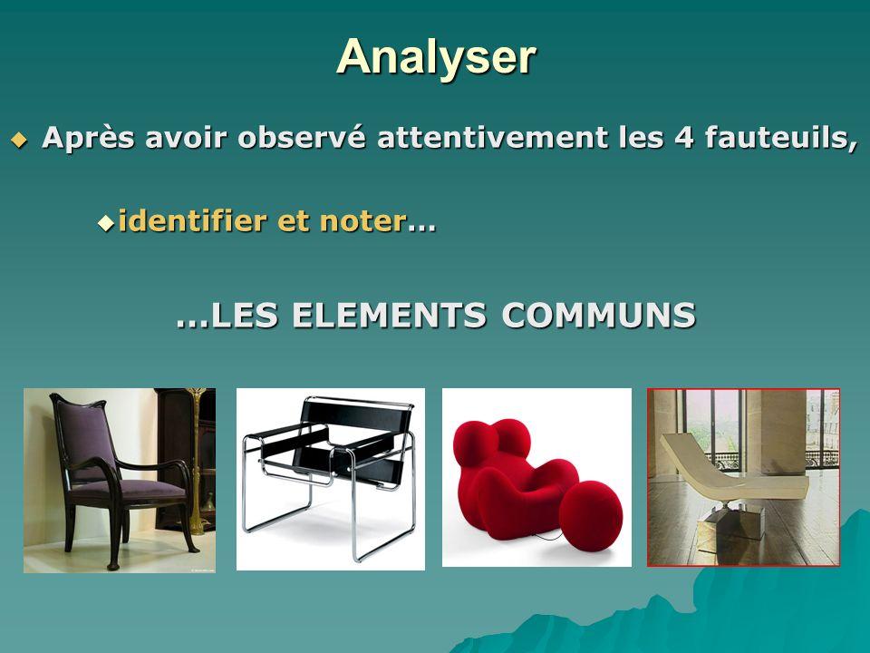 Analyser …LES ELEMENTS COMMUNS