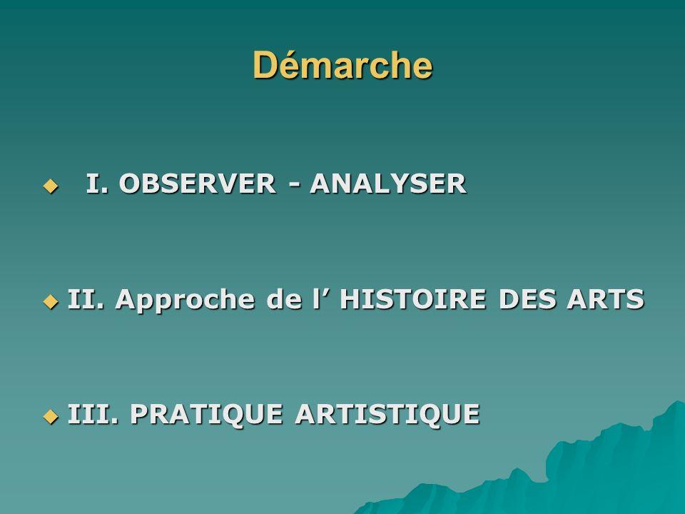 Démarche I. OBSERVER - ANALYSER II. Approche de l' HISTOIRE DES ARTS