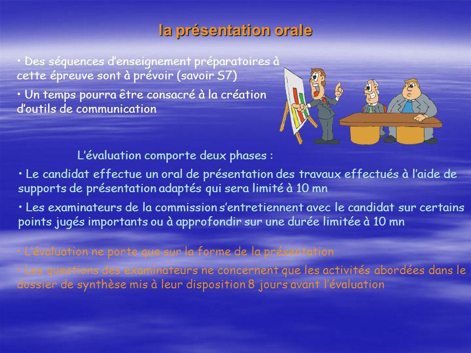 la présentation orale Des séquences d'enseignement préparatoires à cette épreuve sont à prévoir (savoir S7)