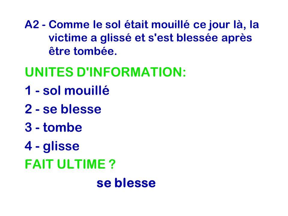 UNITES D INFORMATION: 1 - sol mouillé 2 - se blesse 3 - tombe