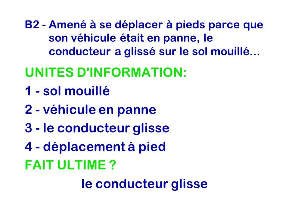 UNITES D INFORMATION: 1 - sol mouillé 2 - véhicule en panne