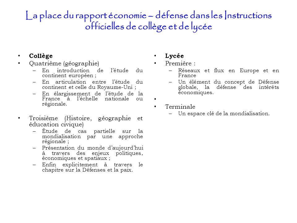 La place du rapport économie – défense dans les Instructions officielles de collège et de lycée